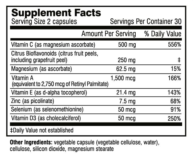Immune Essentials supplement facts
