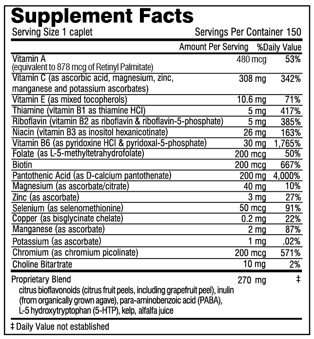 Super Adrenal Stress Formula supplement facts